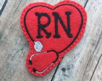 RN Badge Reel - Id holder - Retractable Badge Holder - Tech - Nurse Name Badge Holder - RN - RN Badge clip - Red - Stethoscope badge clip