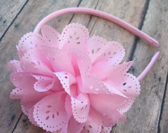 Light pink Headband - pink hard Headband - Headband - Toddler Headband - Flower girl headband - Pink flower - Pink flower headband