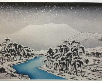 "Japanese Ukiyoe, Shin-hanga, Woodblock print, antique, Hashiguchi Goyo, ""Mount Ibuki in snow"""