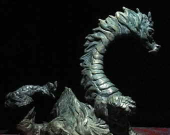 The Wizard: Dragon, hand cast bronze sculpture by Canadian Artist Kindrie Grove