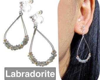 Labradorite Gemstone Clip-on Earrings |9C| Silver Teardrop Comfortable Non Pierced Earrings Wedding Clip on Dangle Earrings Invisible clipon