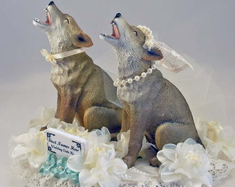 Coyote Bride | Coyote Groom | Coyote Wedding Cake Topper | Coyote Anniversary Cake Topper | Customized