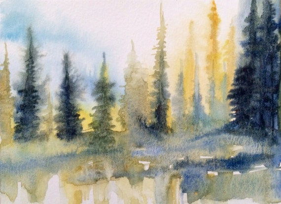 Watercolor trees, Misty trees, pine trees, Pacific Northwest, forest, Misty landscape, Pacific Northwest art, Northwest art