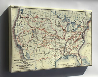 Canvas 24x36; Map Of United States Of America Exploration From 1501 To 1844