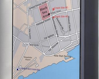 Canvas 24x36; Battle Of Mogadishu Map Of City Black Hawk Down