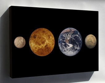 Canvas 24x36; Inner Planets (Left To Right) Mercury, Venus, Earth And Mars To Scale Terrestrial