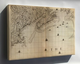 Canvas 24x36; Map Of New England, Nova Scotia 1733
