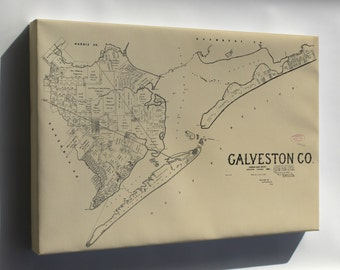 Canvas 16x24; Map Of Galveston Co. Texas 1892