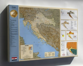 Canvas 16x24; Cia Summary Map Of Croatia 1996