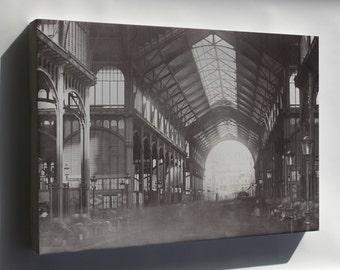 Canvas 16x24; Les Halles, Central Market, Paris, France. 1870
