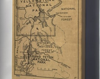 Canvas 16x24; Map Yellowstone & Grand Teton National Park 1929