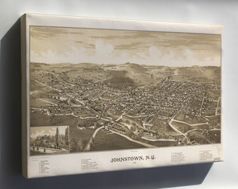 Canvas 16x24; Map Of Johnstown, New York 1888