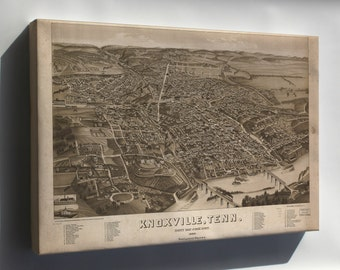 Canvas 16x24; Map Of Knoxville, Tennessee 1886