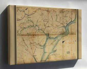Canvas 16x24; Map Fairfax & Prince William Co'S Virginia 1865