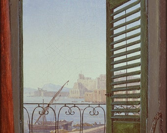16x24 Poster; Balcony Room With A View Of The Bay Of Naples (Via Santa Lucia And The Castel Dell'Ovo) By Carl Gustav Carus