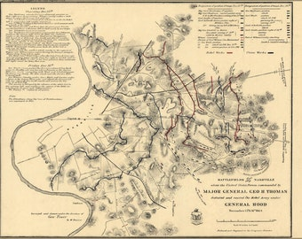 16x24 Poster; Battlefield Map In Front Of Nashville 1864