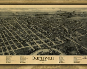 16x24 Poster; Birdseye View Map Of Bartlesville, Oklahoma 1917