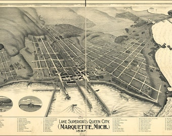 16x24 Poster; Map Of Marquette, Michigan 1897