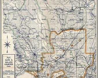 16x24 Poster; Map Of Napa & Solano Counties, California 1913