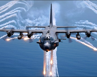 16x24 Poster; Ac 130H Spectre Jettisons Flares