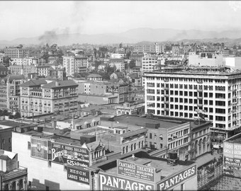 16x24 Poster; Panoramic View Of Downtown Los Angeles Showing Pershing Square, Ca.1910 (5054) #031215