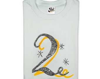 2nd Birthday Girl's t-shirt. Number 2 kids white Tee. Two glitter 'bling' gift- Any size!