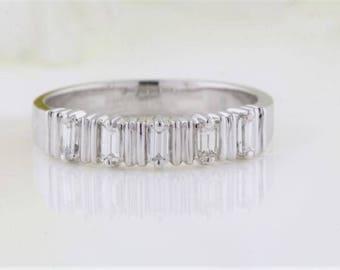 5 Stone Diamond Baguette Ring, 0.25 Carat tw Diamond Baguette Wedding Ring, Baguette Cut Diamond Anniversary Ring, White/Rose/Yellow Gold