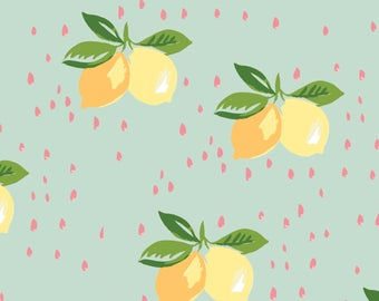 Lemon Poplin - 100% GOTS Certified Organic Cotton - Organic - Fabric by the Yard - Water Color - Sustainable  - yellow - Coral - blue