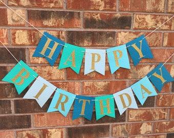 Turquoise birthday banner, Happy Birthday Banner, Personalized birthday banner, First Birthday banner, Blue Ombre Birthday banner