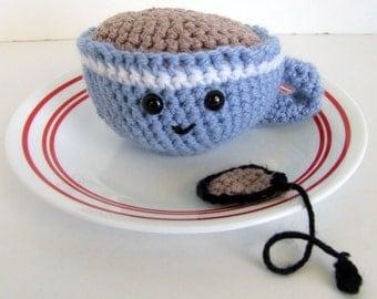 Amigurumi Tea Cup w/ Tea Bag, Amigurumi Food, Play Food, Crochet Tea Cup