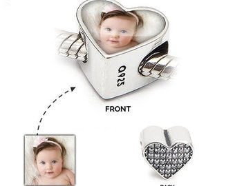 Personalised Charm   Photo Bead in 925 Silver   Crystal Love Heart   Pandora Bracelet Compatible - Gift Jewellery Valentines