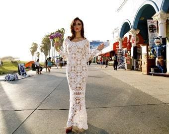 Wedding maxi dress crochet lace celebrity exquisite bohemian summer beach goddes