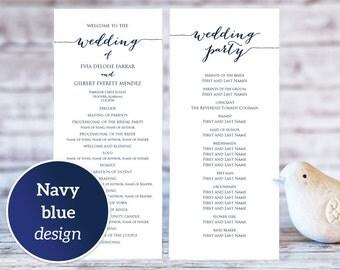Wedding Program Templates, Ceremony Program Template, TWO Sizes, Wedding Program Printable Template, Editable Program Template