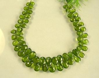 "Vessonite/vesuvianite faceted pear beads AA 7-10mm 8"" strand"