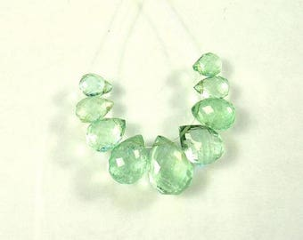 Emerald  faceted pear briolette beads AA 5-10mm 9pcs