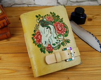Gift for Girl Horse Floral Leather Journal Handmade Personalized Tooled Leather Journal Notebook Diary Stitched Journal TiVergy Journal