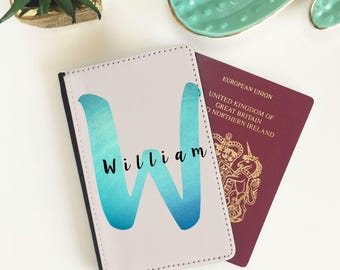 Personalised Passport Cover - Watercolour Blue Design -  Passport Holder - Passport Wallet - Passport case - FREE POSTAGE