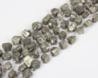 Full strand Rock Rough Iron Pyrite Center Drilled Freeform Nugget Loose Beads for Bracelet,Raw Iron Gemstones Cut Cube Shape Chips Pendants