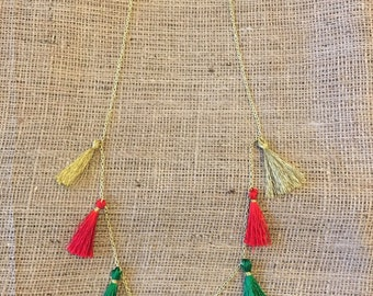 Christmas Themed Tassel Necklace