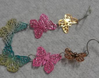 Triple Butterfly Rainbow Metal Dangle Pierced Earrings