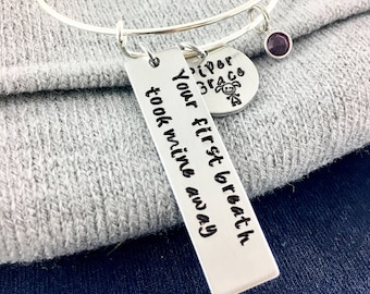 Mom bar necklace,  Birth date necklace, Baby birthstone necklace, Your first breath took mine away, New mom gift for new mom, New baby gift