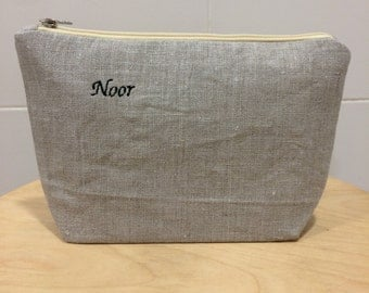 Personalized Monogrammed Linen Clutch, Pouch, Purse, Cosmetic Pouch, Natural Rustic Linen, Eco Friendly Pouch, Bridesmaid Gifts
