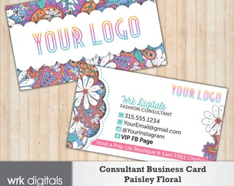 Fashion Consultant Business Card, Double-Sided Customizable Business Card, Paisley Floral Design Business Card, Direct Sales, PRINTABLE