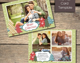 Christmas Trees Christmas Card - 7x5 Photoshop Template - INSTANT DOWNLOAD