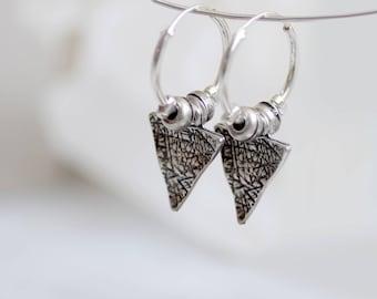 Silver hoop earrings small, pendant earrings, sterling silver hoop earrings, triangle earrings, bohemian earrings, modern earrings