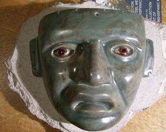 "1988 Precolumbian Jade Mask Reproduction Signed 8x7"" Olmec Prehistoric Mexico"