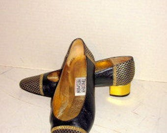 sz 8 m vintage black and gold low heel shoes TIMOTHY HITSMAN label