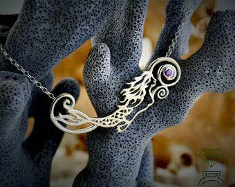 Silver Mermaid Pendant Sterling Silver Pendant Silver Necklace