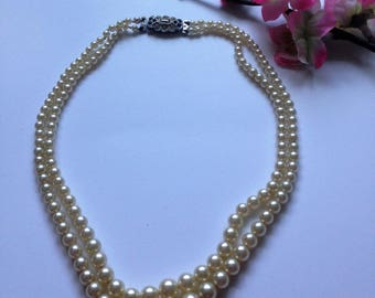 Vintage Double Strand Faux Pearl Necklace, Graduated Pearls, Rhinestone Clasp, Box Clasp, Crystal Clasp