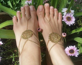 Boho tribal barefoot sandals, tribal anklet foot chain, foot jewelry bohemian chain, gold anklet, gold foot thong slave anklet gypsy jewelry